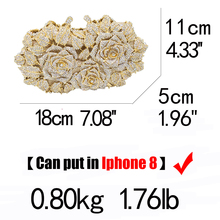Dazzling Women Gold Rose Flower Hollow Out Crystal Evening Metal Clutches (22 colors)