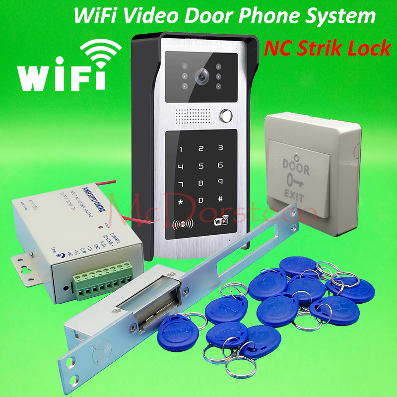 Android ISO App WIFI Video Door Phone RFID & Code Keypad Doorbell Long type NC Electric Strike Lock System Door Access Control android iso app wifi video door phone rfid keypad doorbell long type no electric strike lock system wifi door access control kit