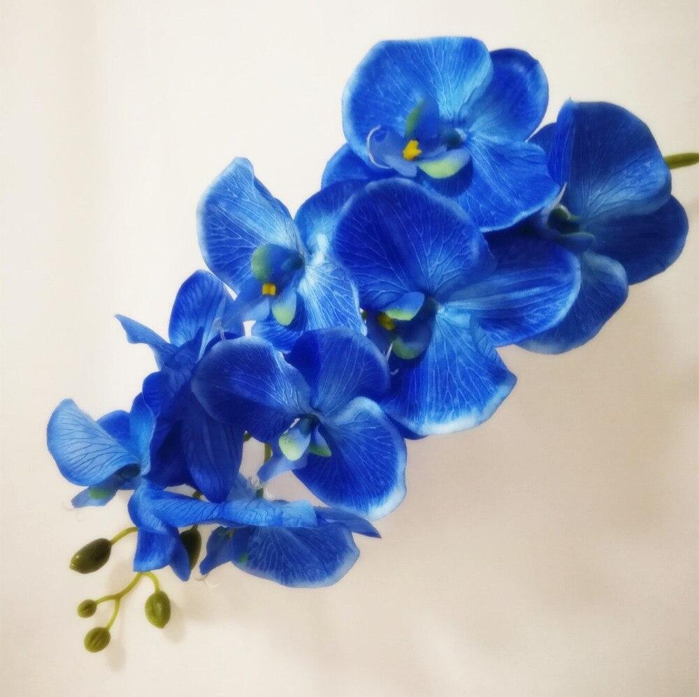 Blue phalaenopsis orchid silk real touch flower artificial flower 5pcs fake single stem moth orchids 8 heads big size phalaenopsis orchid for wedding centerpieces decorative izmirmasajfo