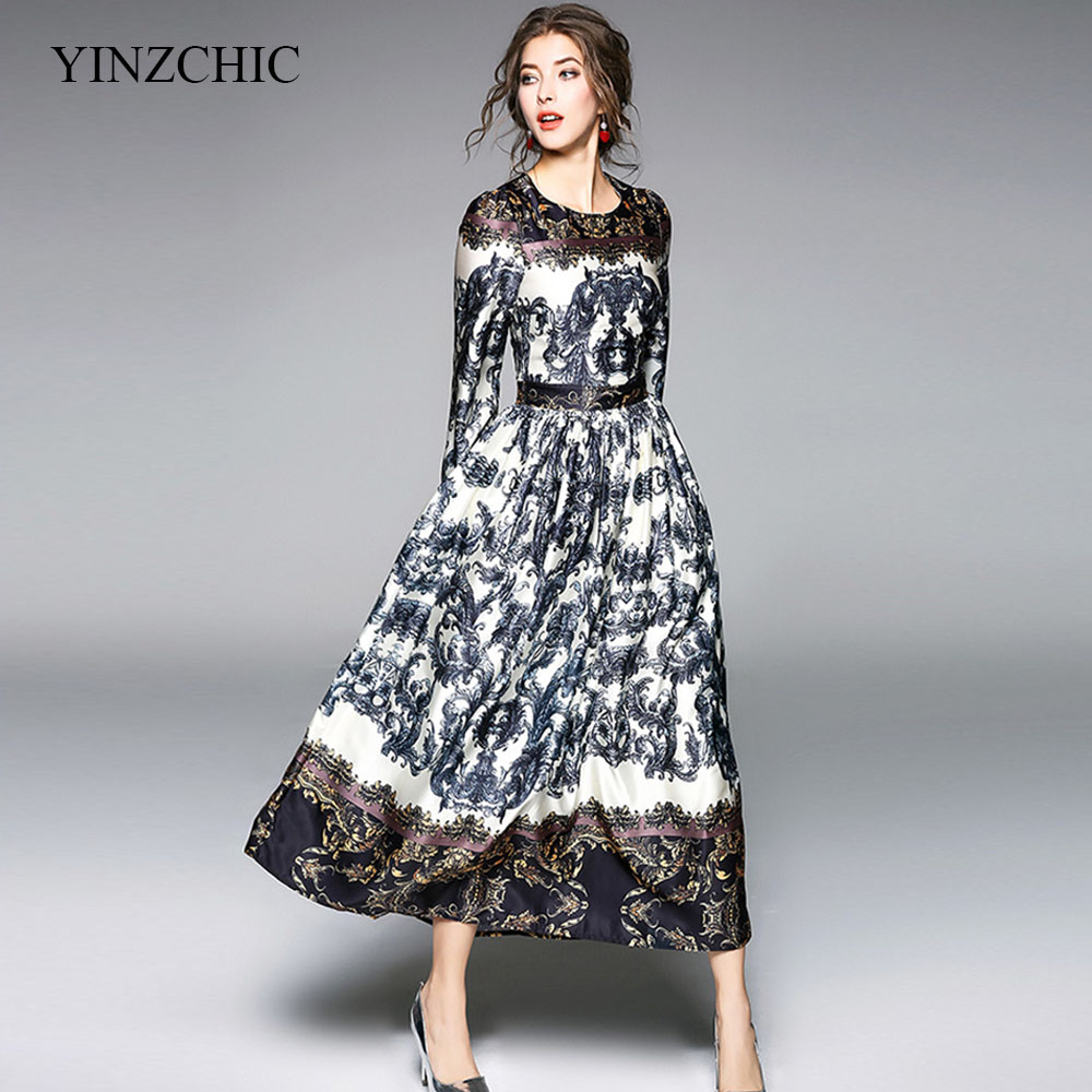 woman spring maxi dress quality printed female a line dress casual OL dress runway party dress lartern sleeve vestidos