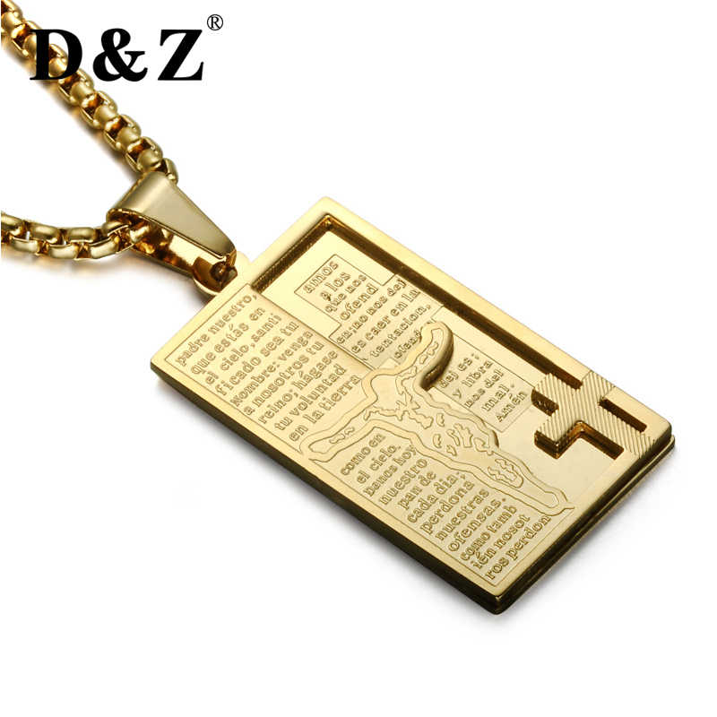 Christian Spanish Bible Cross Jesus Necklace Men Stainless Steel Geometric Pendant Necklace For Women Religious Jewelry