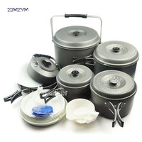 12 Person Travel Pots Set Large Capacity Lightweight Camping Pots Bowls Outdoor Cookware Tableware Family Set pot BL200 C10 1pc