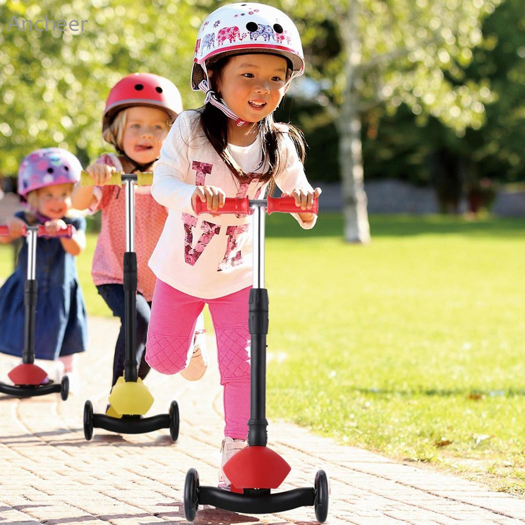 Ancheer New Aluminum Alloy Kick Scooter Adjustable Height Best Gifts for Children Kids Boys Girls Foot Scooters folding kick scooters foot scooters children best birthday gift with flash pu wheels free shipping