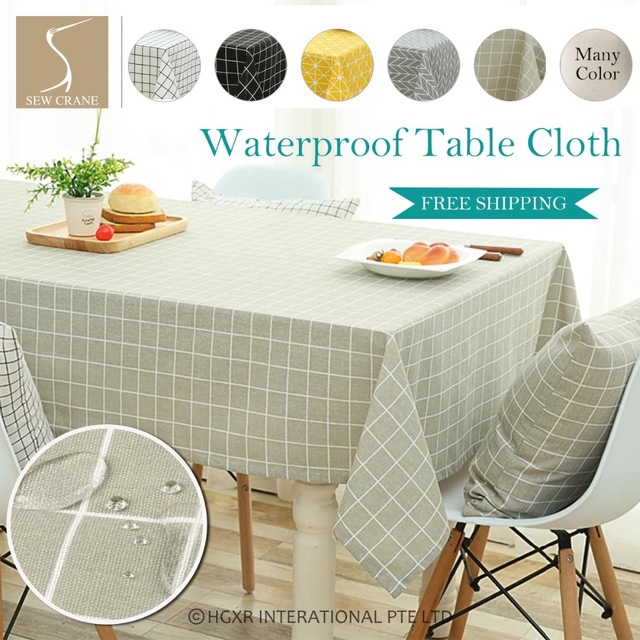 Black White Round Gingham Checkered Tablecloths Yellow Square Geometric  Tablecloth Cotton Linen Minor Waterproof Tablecloth