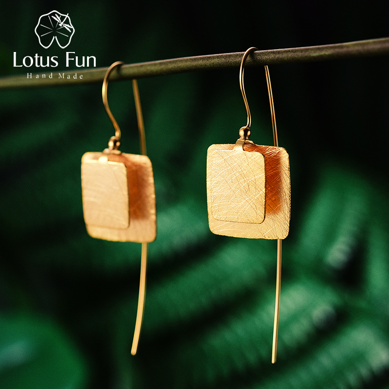 цена на Lotus Fun Real 925 Sterling Silver Natural Original Handmade Fine Jewelry Vintage Unique Square Drop Earrings for Women Brincos