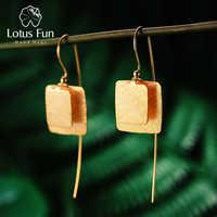 Lotus Fun réel 925 argent Sterling naturel Original fait à la main bijoux fins Vintage Unique carré boucles d'oreilles pour les femmes Brincos