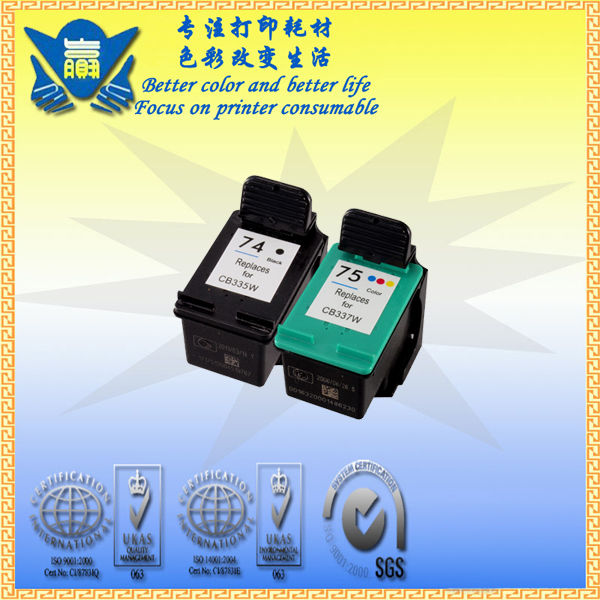 Remanufactured for HP74 XL+ 75XL cartridge for Photosmart: C4200, C4280, C4380, C4385, C4480, C4580 Officejet J5780, J6480