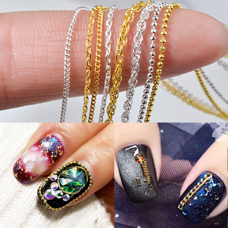 50cm 3D Gold Silver Metal Nail Chain Mixed Styles Striping Ball Beads DIY Tips Nail Art Decorations Accessories Charms