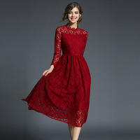Work Casual Slim Fashion Stand Sexy Hollow Out Wine Red Dresses Women A Line Vintage Vestidos