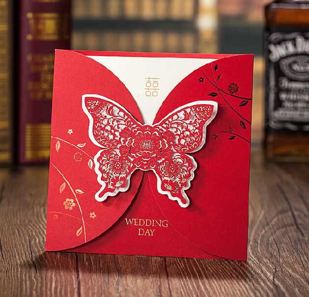 New Wedding Invitations Crad Custom Any Language Cards Red Erfly Card Personalized Free Design