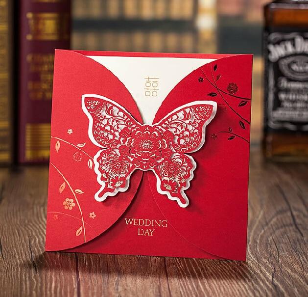 new wedding invitations crad custom any language wedding cards red