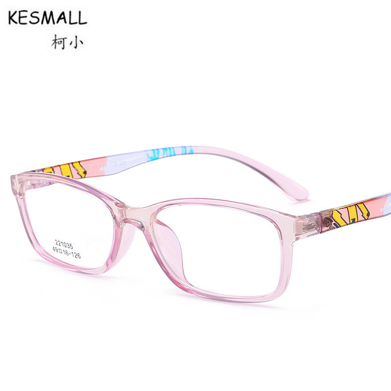 KESMALL Fashion TR90 Children Prescription Diopter Glasses Boy Girl Ultra-Light Gaming Eyeglasses Frame With Myopia Lens XN394P