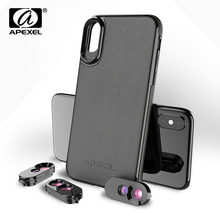 APEXEL Dual Lenses for iPhone X XS with Black PU Leather Pho