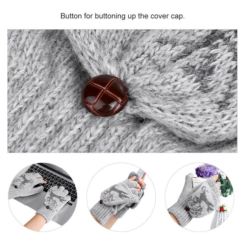 VBIGER Men Women Warm Knitted Gloves Dual Use Half-finger Flip Top Gloves Thick Winter Mittens Elk Pattern Chritmas Gift