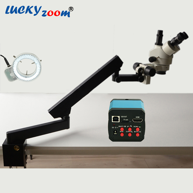 Lucky Zoom Brand 7X-45X Trinocular Articulating Arm Pillar Clamp Stereo Zoom Microscope 14MP HDMI Microscope Camera 144 LED  lucky zoom brand strong darticulating arm pillar clamp stand for stereo microscopes microscope accessories free shipping