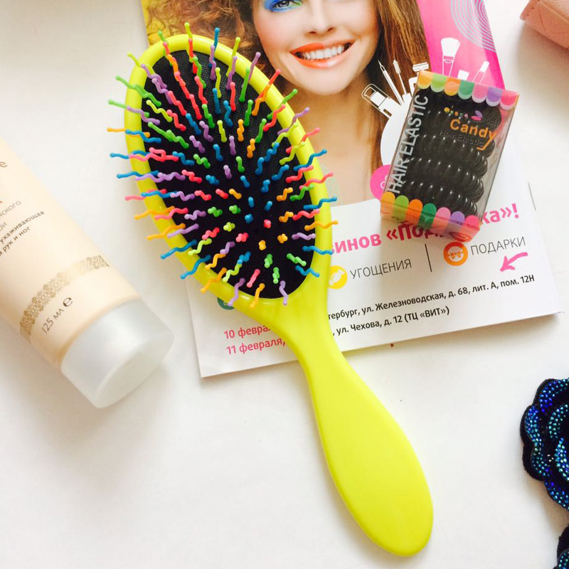 MY GIRL  Fashion Hot Women Hairbrush Professional Heathy Paddle Cushion Hair Brush Quality Hair Massage Comb rainbow brushes