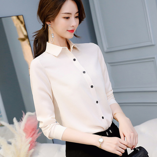 Brand Blusas Mujer De Mod Tops Long Sleeve Lapel White Blouse Office Ladies Work Blouses Fashion Clothing Blusas Womens Shirts 3