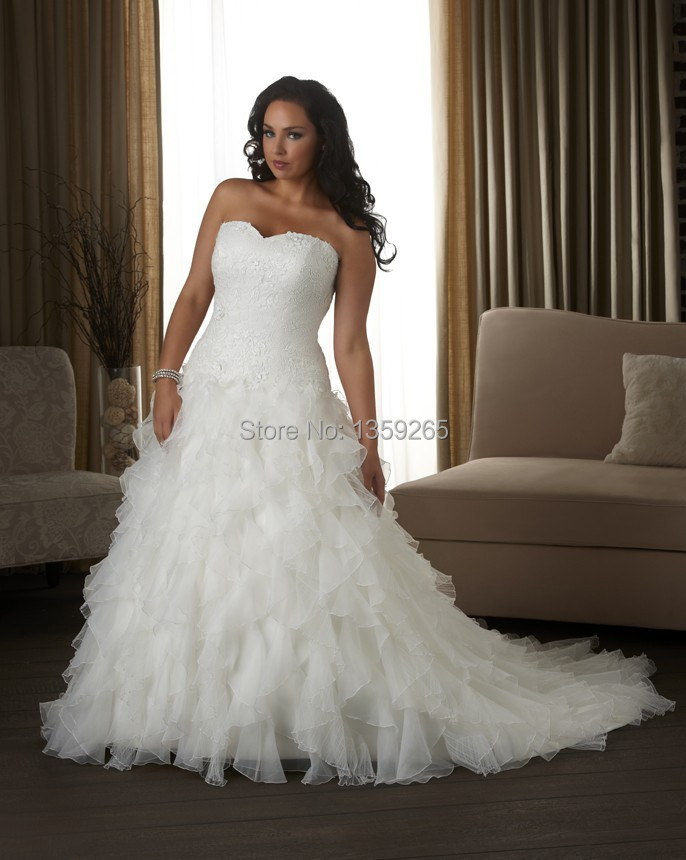 Plus size wedding dress women top lace bride gowns tiered for Lace top plus size wedding dress