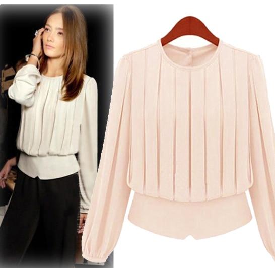 Online Buy Classic Women Pleated O-neck Chiffon Shirt Top ...