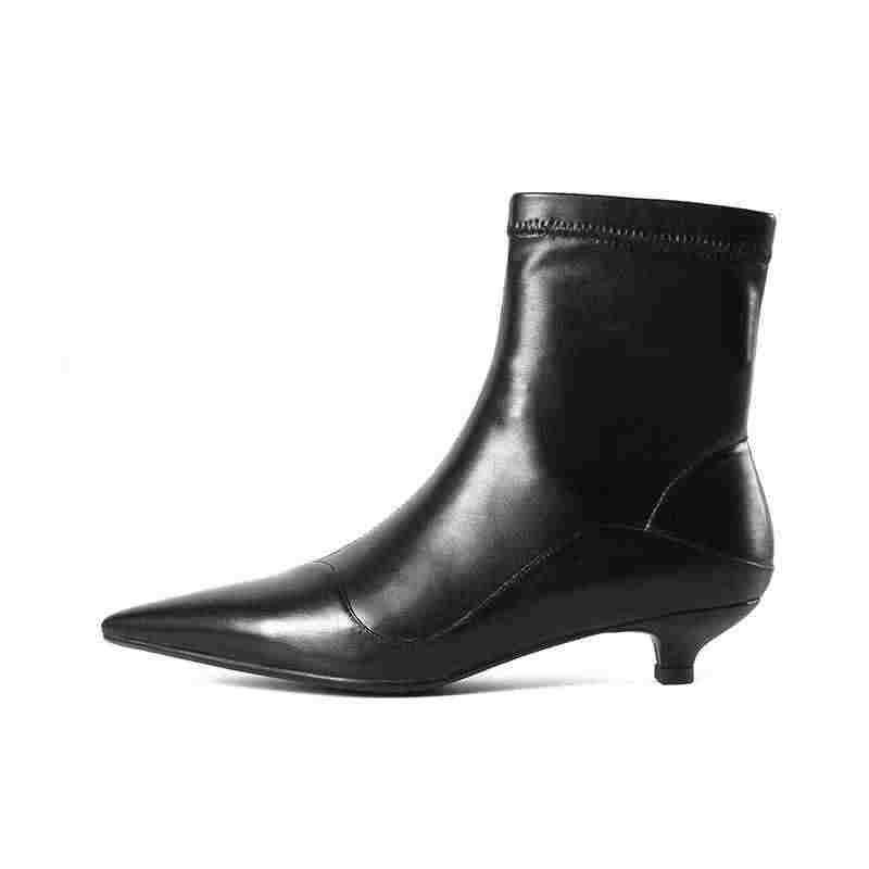 Krazing pot hakiki deri garip topuklar güzellik kız streç çizmeler kadın marka ayakkabı Avrupa Chelsea tasarım yarım çizmeler L62