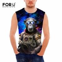 FORUDESIGNS Summer Novelty Warrior Monkey Print Tank Top Men Clothing Fitness Body Engineers Man Vest Sleeveless