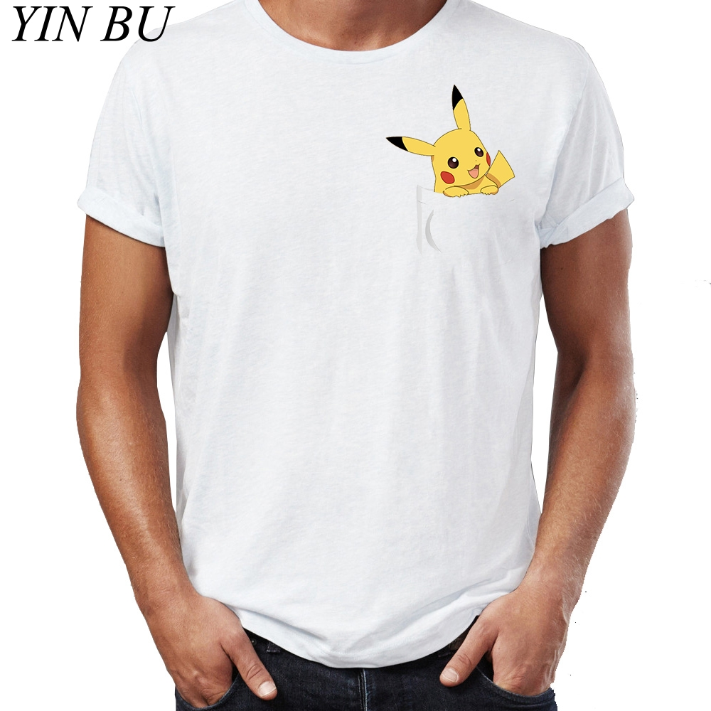 48ec1a29 Pokemon Starters Pocket Gengar Pikachu Charmander Squirtle Bulbasaur  Fashion White T Shirt mens Casual O Neck