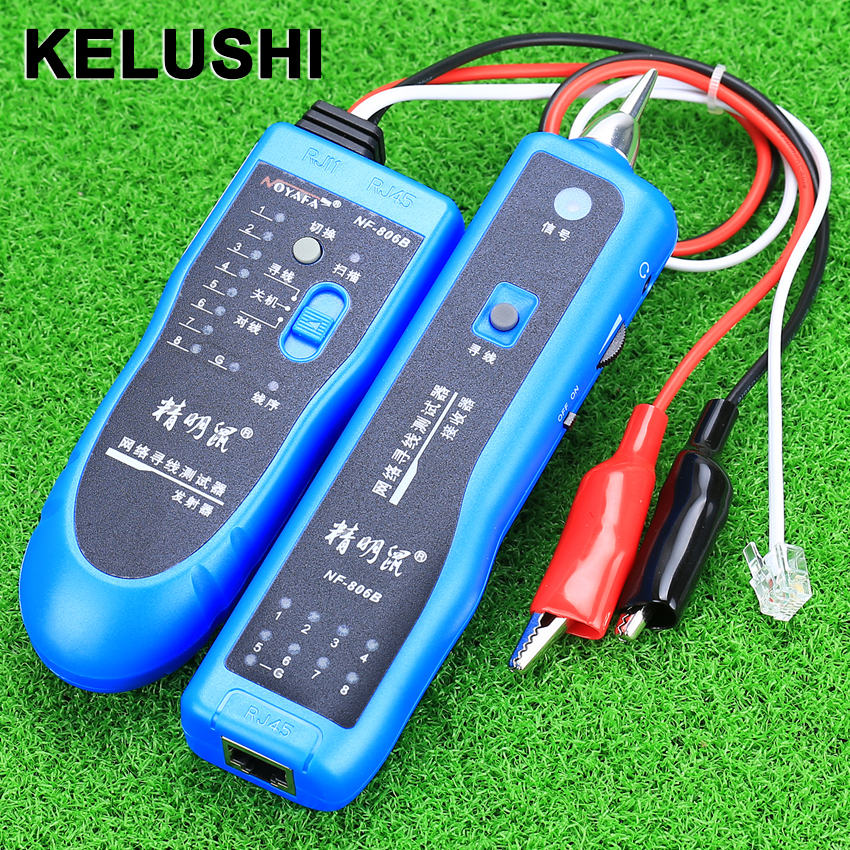 KELUSHI Cable Tester Tool wire Cable Tester Line Tracker Telephone RJ11 RJ45 NF-806B network wire tracker nf 806b handy support trace telephone wire lan cable free shipping not include battery