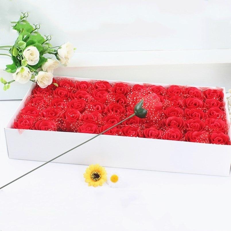 Nouveau 50 pcs Rose savon fleur Alentine jour présent savon fait à la main fleur mariage faveurs et cadeaux pour les invités demoiselle d'honneur cadeau fête