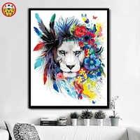 Farbe durch zahl Diy Bunte tier lion hund zebra ölgemälde hand-gefüllt farbe dekoration malerei öl paintin