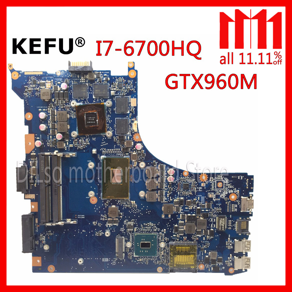 KEFU GL552VW For ASUS GL552VW ZX50V laptop motherboard GL552VW mainboard rev2.0 I7-6700HQ GTX960M Test original motherboard ноутбук asus gl552vw cn866t