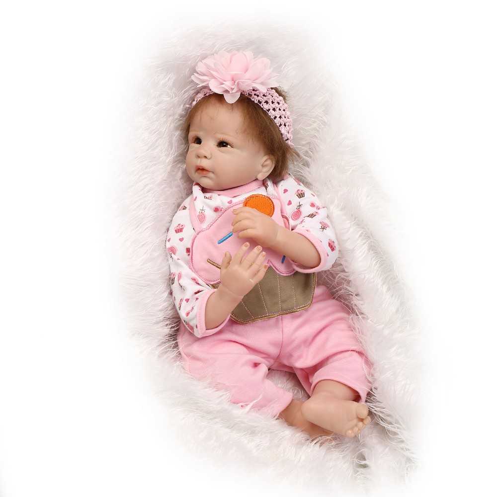 22 inch lifelike silicone reborn baby dolls toy for girls kids birthday present collectable doll play house bedtime toys babies 50cm princess baby dolls toys for girls lifelike birthday present gift for child early education play house bedtime toy dolls