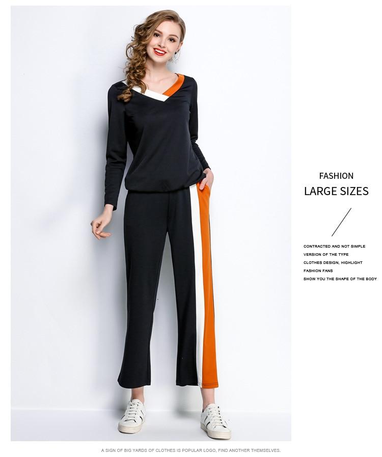 L 1 2 Pleine Femmes Autumnswearshirt Sport Ensemble Pcs 2018 Pantalon Swearshirt Sportwear Long Suit Survêtement Costume Et 5xl Manches Printemps BRqHnXrwBx