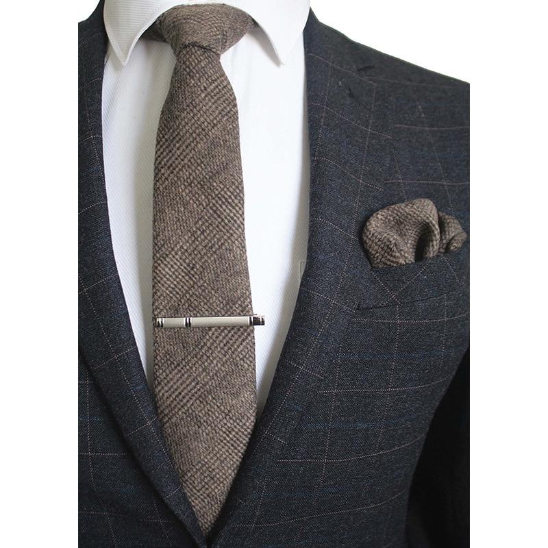 GUSLESON 8 cm Wool Tie Solid Plaid Necktie para hombres calidad Cravats Cashmere Tie and Handkerchief Set Suit para fiesta de boda