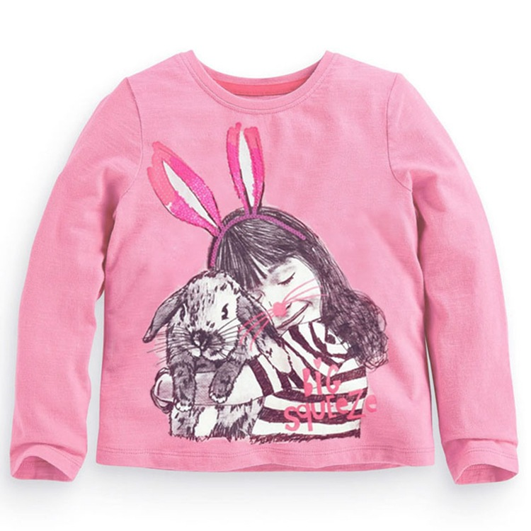 2t-7t years Girls T-shirt Kids Tees Baby girl brand t shirts Children tees Long Sleeve 100% Cotton pink hare shirts USA style