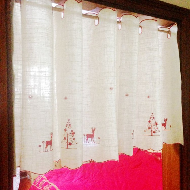 Free Shipping Linen Elk Christmas Tree Coffee Short Curtain Kitchen Curtains  For Living Room Bedroom Tulle Yarn 170*43/58/87cm In Curtains From Home ... Part 57