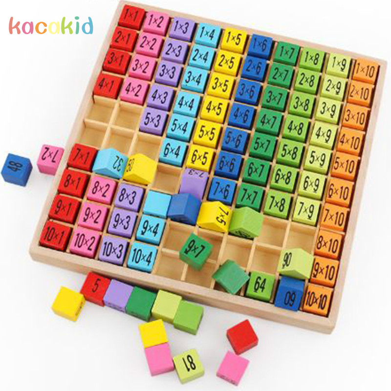 Montessori Educational Wooden Toys for Children Baby Toys 99 Multiplication Table Math Arithmetic Teaching Aids for Kids baby montessori education toys dominos children preschool teaching aids counting and stacking board wooden arithmetic math toy