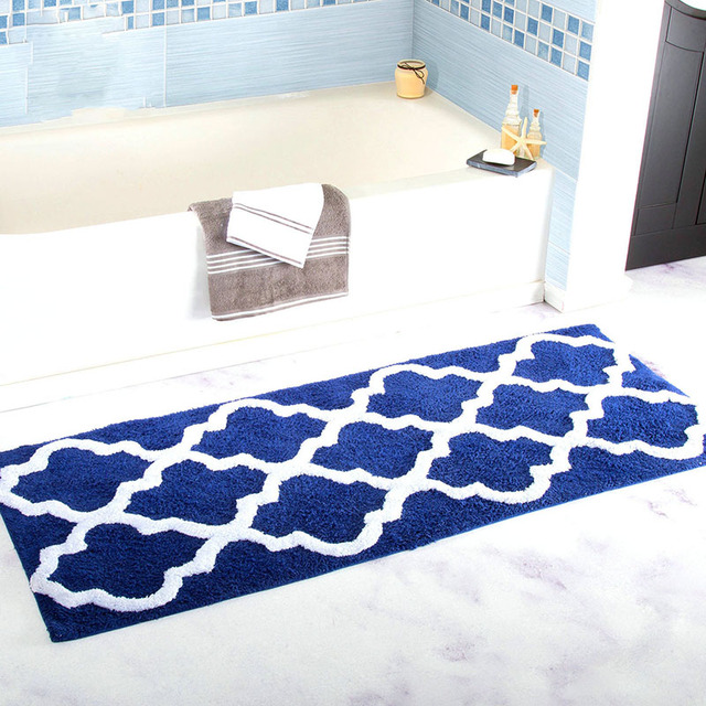 45*120cm extra long geometric flower blue microfiber bathroom tub Accent Rugs