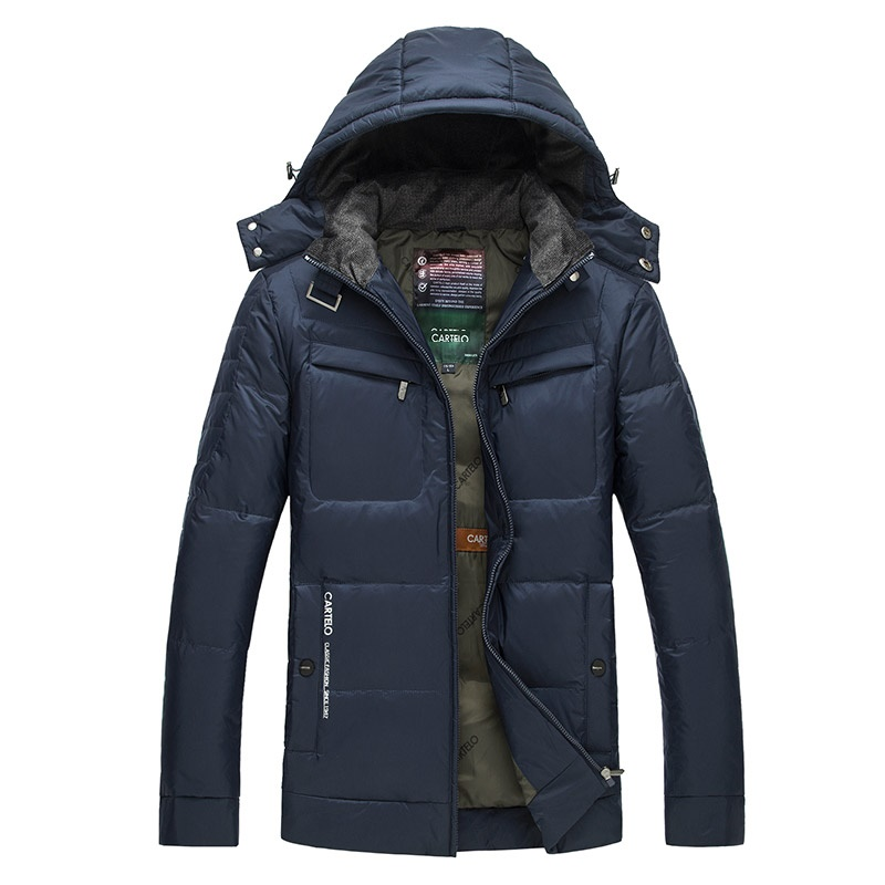 DZYS Men's Duck   Down   Jacket Thick Warm   Down     Coat   with Hat Detachable for Men Male 2625