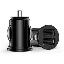 Автомобильный Грузовик двойной 2 порта USB мини зарядное устройство адаптер для iPhone 7 плюс 6 5S 4S huawei P10 samsung Galaxy S8 S7 celular черный 12 В мощность