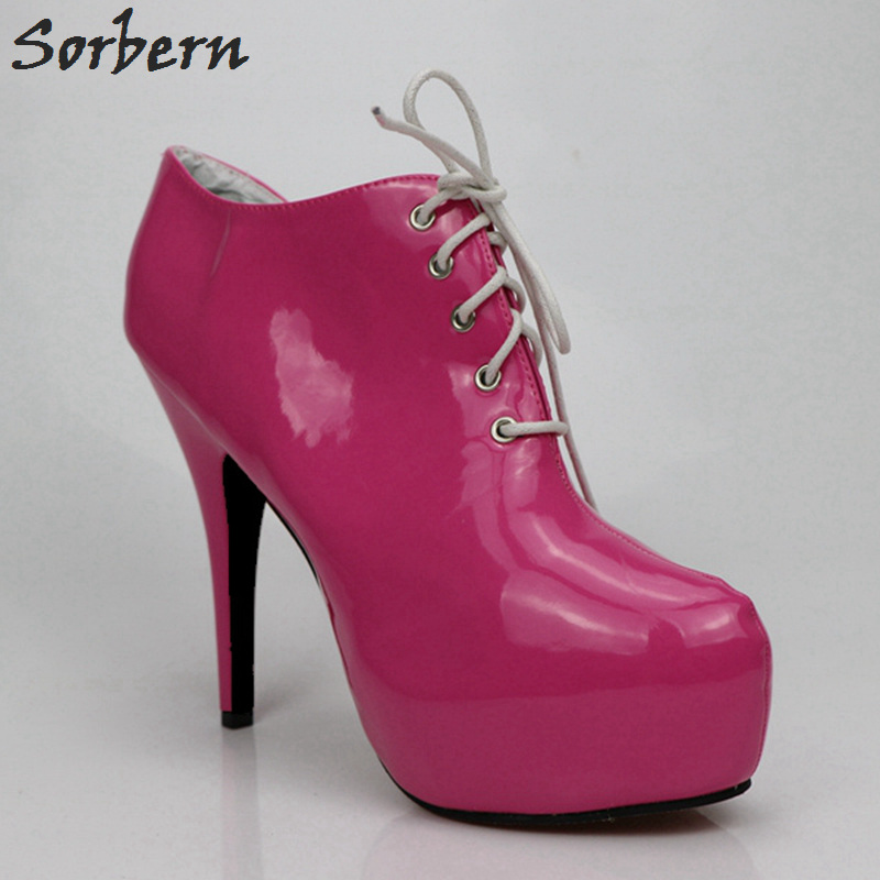 Sorbern Hot Pink Sexy High Heels Women Pumps Round Toe Lace-Up Platform Shoes Custom Color Ladies Shoes With Heels Lace Up Heels annymoli platform high heels lace up wedge shoes ladies pumps pointed toe lace up increasing heels shoes black white size 34 39