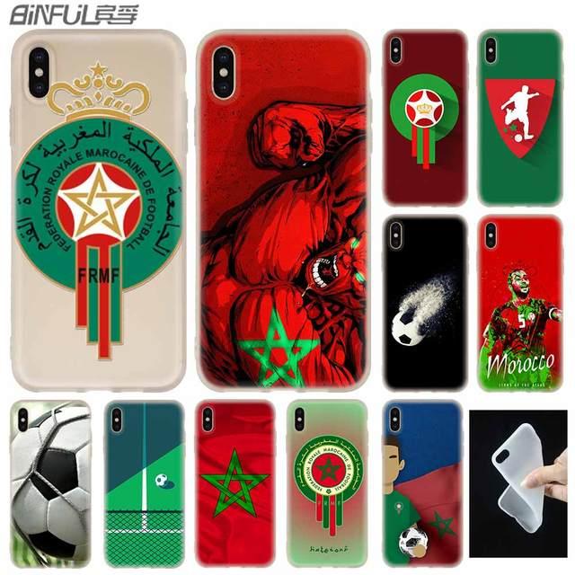 Morocco Bóng Đá Bóng Đá cờ Bìa Trường Hợp Silicone mềm đối với iPhone X XS Max XR 6 6 S 7 8 Cộng Với 4 5 S SE 9 Điện Thoại Trường Hợp