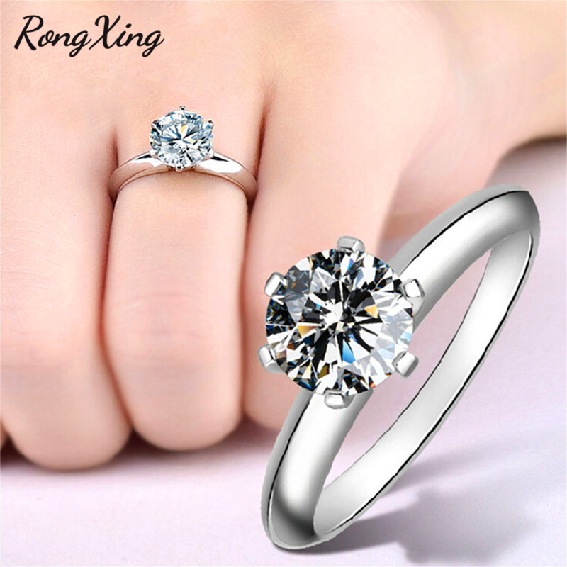 RongXing Sparkling Round White Zircon Six Claw Rings For