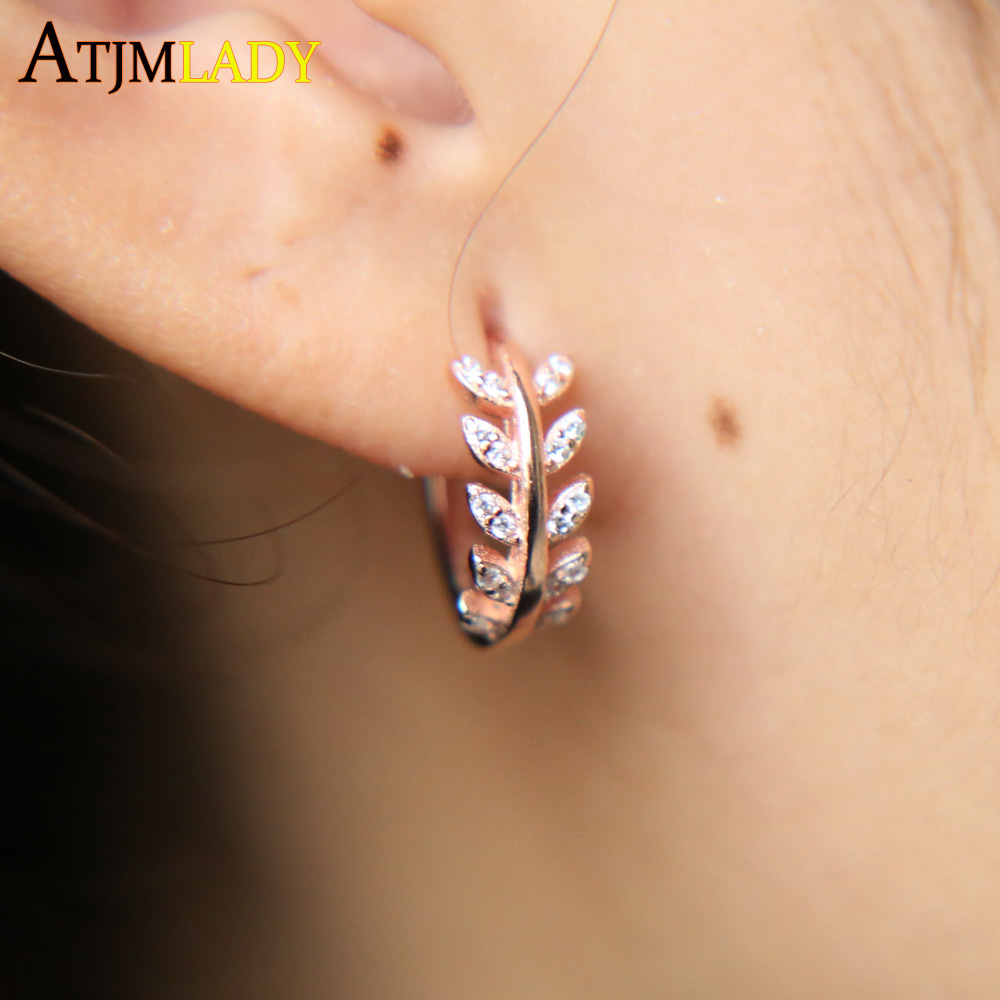 7ef5c63c05c25 US $8.99 10% OFF 2019 New 925 Sterling Silver Aaa Cubic Zirconia Huggie  Hoops Women Clip Leaf Earring Clear Cz Simulated Gold Filled jewelry-in  Stud ...