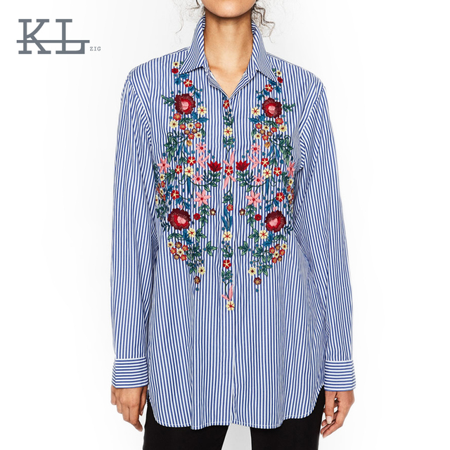 152d8288a90 Striped Flower Embroidery Blouses Cute ZA Turn-down Collar Blouse Trendy Women  Long Sleeve Casual HI-LO Side Split Shirt Top