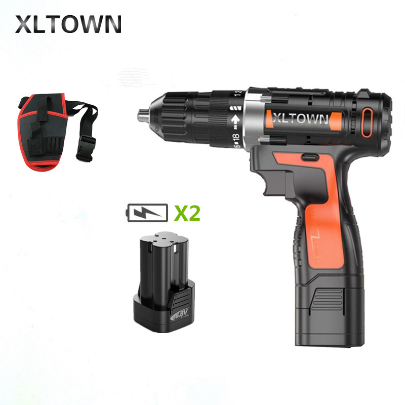 XLTOWN 16 8V cordless electric drill with 2 battery lithium battery rechargeable electric screwdriver household power