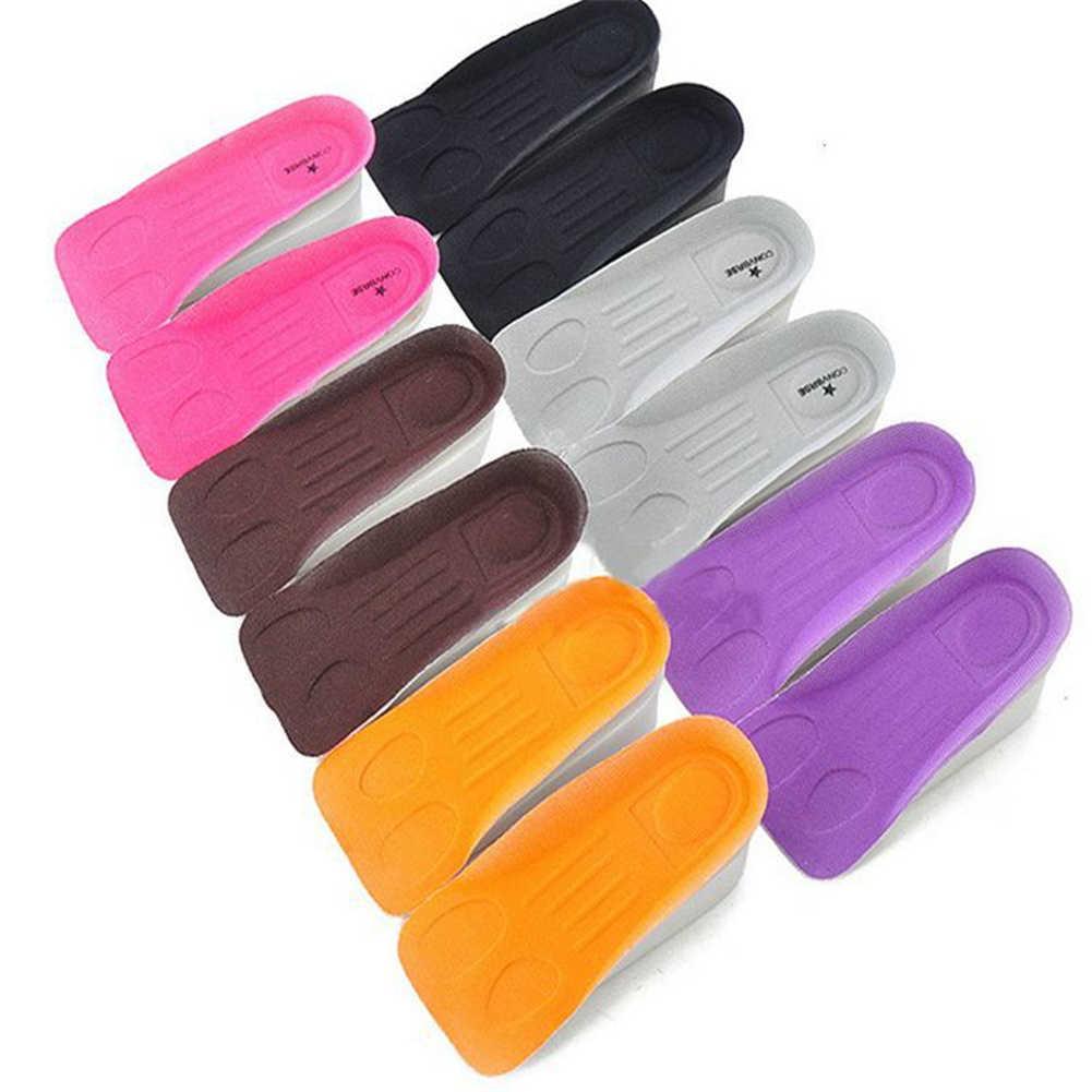 1 par de cor aleatória altura aumentar sapatos palmilhas para sapatos de espuma borracha mais alto sapato inserção côncava invisível interior solas sapato
