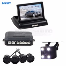DIYKIT four x Sensors four.3Inch Foldable Rear View Automotive Monitor Equipment + four Parking Radar + Rear View Automotive Digicam Video Parking Radar