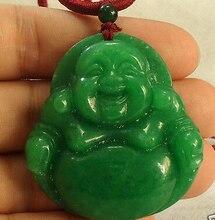Ddh002240 Chino Verde Grande Laughing Buddha colgante collar 28% de Descuento