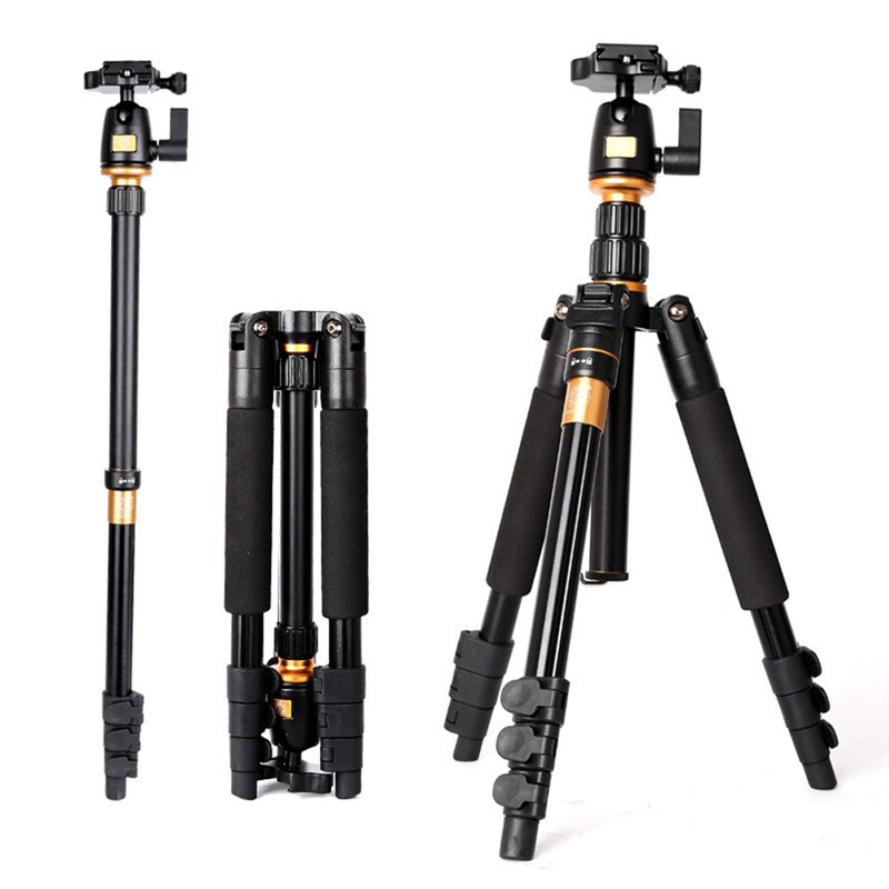 Q555 Professional Portable Aluminum Tripod Monopod Ball Head For DSLR Camera Double Axial Camera Tripod Stand