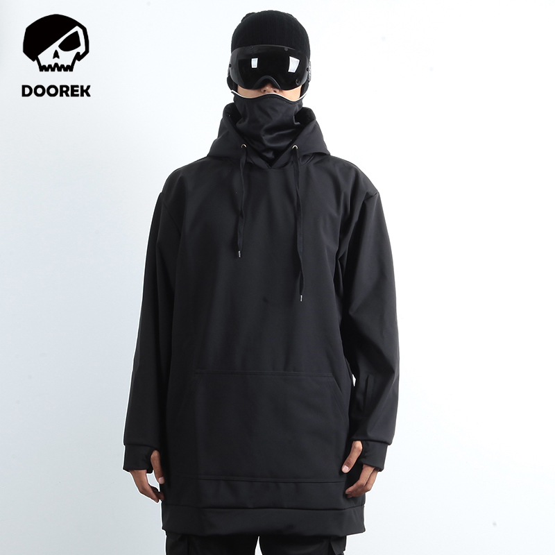 ФОТО Professional Men Women Winter Ski Jacket Warm Waterproof Breathable Skiing Snowboard Clothing Hooded Jacket Black Color